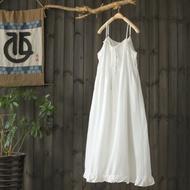 淑女天絲棉白色吊帶裙無袖長洋裝-設計所在