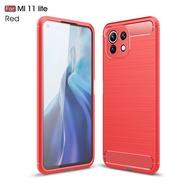 Phone Case For Xiaomi Mi 11 / Mi 11 Lite / Mi 11i / Mi 11pro / Mi 11 Ultra Carbon Fiber Silicone Brushed Phone Shockproof Back Cover TPU Soft Phone Casing
