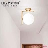 壁燈大觀園現代簡約led壁燈北歐臥室床頭墻燈玻璃燈罩不銹鋼圓形壁燈 JDCY潮流站