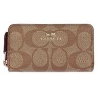 COACH 防刮方型雙層卡夾零錢包-卡其桃 (現貨+預購)