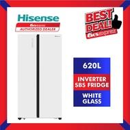 HISENSE Fridge RS686N4AWU 620L Side by Side Inverter Fridge Refrigerator | Hisense SBS Fridge | 2020 (Delivery/Install)