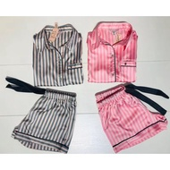 2020 New Pink Strip Slik Pajamas Women Sleepwear Short Sleeves Two Pieces Home Clothes For  Suit