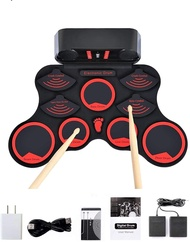 Electronic Drum Set, 10 Drum keys+Feet Treading design is a set of drum kit, Roll Up Drum Set, Portable Beginners Electric Drums (Red)