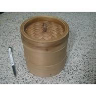 4.5吋竹蒸籠 - 籠身*2+籠蓋 (二手)