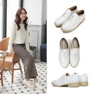 【FUFA Shoes 富發牌】牛津百搭質感低跟鞋-白  FE77