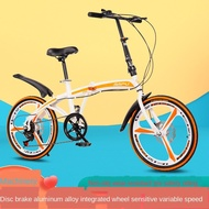✣20 Inch Variable Speed Double Disc Brake Folding Bicycle Adult Outdoor Riding Alloy One Wheel Highway Mountain Bike Ro