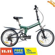 Cycling Club 🚴 The HITO 20 inch disc brake foldable bicycle mountain bike shock-absorbing men and women variable speed student bike. Q