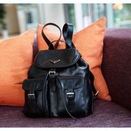 全新真品 PRADA Soft Calf Backpack 黑色 小型 牛皮 後背包 現貨