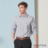 【NAUTICA】撞色小花條紋長袖襯衫(淺藍)