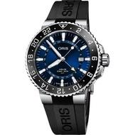 【ORIS 豪利時】水鬼 Aquis GMT 雙時區潛水300米機械錶-藍x黑橡膠帶/43.5mm(0179877544135-0742464EB)