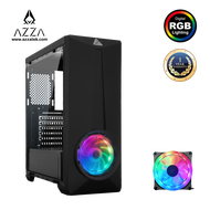 AZZA  Mid Tower Tempered Glass RGB Light Gaming Computer Case ARC 241G – Black