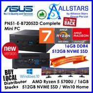 (ALLSTARS : We are Back / Mini PC Promo) ASUS PN51 series B7205ZD / PN51-E1-B7205ZD Complete Mini PC (AMD Ryzen 7 5700U / 16GB DDR4 3200MHz / 512GB Gen3 PCIE SSD / Intel WiFi6 / BT 5.0 / Windows 10 Home 64bit / Wireless KB+Mouse) (Warranty 3yrs Asus)