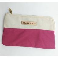 【全新】星巴克 Starbucks 經典帆布拉鏈袋 粉紅 聖誕節交換禮物