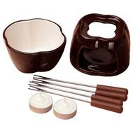Ceramic Fondue Set Chocolate Fondue Pot with Tealight Candles