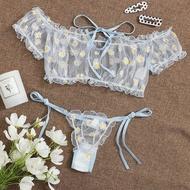 Korean Sleepwear Pajama Set For Women Nightwear Women Embroidery Lace Bowknot Strapless Bra Thong Set Sleepwear Pajamas Lingerie