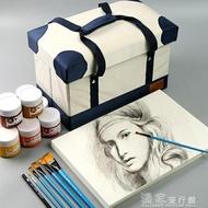 美術箱博格利諾美術用品工具箱大號初學者多功能可折疊手提水粉顏料收納盒【99購物節】