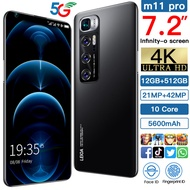Tanbaby Smartphone M11 Pro 5G, Smartphone 12 + 512GB 7.2 HD screen , Face Unlock + Fingerprint Fast Unlock Android Smartphone, 4G WIFI Phone