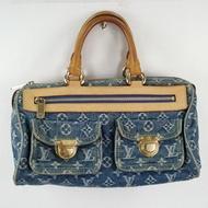 Louis Vuitton LV M95019 SPEEDY DENIM 牛仔丹寧雙口袋波士頓包(藍)#35現金價$22,800