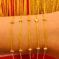 ข้อมือทองคำแท้ นำ้หนัก 1 กรัม  ลายขั้นหัวใจ ทองคำแท้ 96.5% มีใบรับประกันสินค้า น้ำหนักเต็ม ราคาโดนใจ