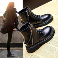 Soft Leather Dr. Martens Boots Women 'S Shoes British Style Spot Dr. Martens Boots Women 'S Chunky Heel Ankle Boots
