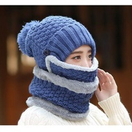 【EZlife】女士全方位防風保暖帽三件套藍色