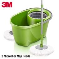 3M Scotch-Brite 360° Spin Mop Bucket Set with 2 Microfiber Mop Heads