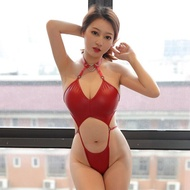 Sexy Leather Bodysuit Baby Doll PU Stripper Clothes Sex Party Sexy Hollow Jumpsuit Nightclub Party Bodysuits sex doll for women full body