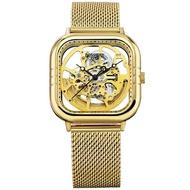【BOSSWAY】超越流行鏤空機械錶(金-42mm)