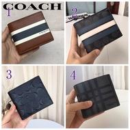 กระเป๋าสตางค์ใบสั้นCoachของผู้ชาย,กระเป๋าสตางค์พับลายทางแฟชั่นใส่บัตรได้หลายใบ