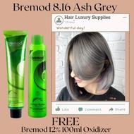Hair Luxury Supplies Bremod 8.16 Ash Gray / Ash Grey + Bremod 12% Oxidizer 100ml FREE