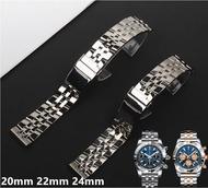 สายนาฬิกา20มม.22มม.24มม.สแตนเลสสตีลนาฬิกาข้อมือสำหรับ Breitling สายรัดนาฬิกาสำหรับ AVENGER NAVITIMER SUPEROCEAN Watchband