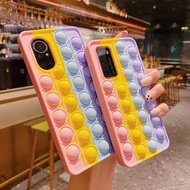 Oppo F11 A7 A5s A12E A3s Reno 5 4 3 F9 Pro Pop It push bubble phone case rainbow color to relieve stress cases