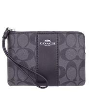 COACH 經典LOGO單層手拿包 防刮PVC皮革 L型拉鍊 零錢包 手機包 手拿包 58035 黑灰色(現貨)