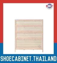 4 ชั้น สีลายไม้สว่าง ตู้รองเท้าอลูมิเนียม กันน้ำกันปลวก ตู้รองเท้า ชั้นวางรองเท้า กล่องใส่รองเท้า ตู้อเนกประสงค์ ALUMINIUM SHOE CABINET