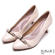 DIANA糖果漆皮蝴蝶結金屬釦跟鞋-漫步雲端輕盈美人-米