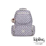 【KIPLING】復古花磚多拉鍊袋後背包-KANGRA