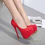 18cm恨天高性感超高跟鞋細跟15公分夜店黑色防水臺16CM單鞋女鞋「時尚彩虹屋」