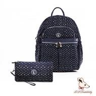 【冰山袋鼠】楓糖瑪芝-輕旅多口袋後背包+零錢包2件組(幾何藍)