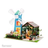 微型1:24 DIY娃娃屋,3D木製風車溫室和家具