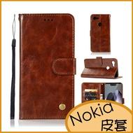 瘋馬紋側翻手機殼 Nokia 8.1軟殼 7.1皮套 6.1Plus保護套 Nokia 7 Plus保護殼 插卡商務皮套
