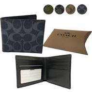 【COACH】經典C LOGO PVC皮革6卡照片證件短夾男款(均一價)