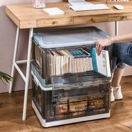 折疊雙開門收納箱透明帶蓋整理箱玩具衣服儲物箱特大號有輪書箱子