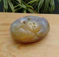 天然馬達加斯加紫羅籃帶蜜黃紫玉髓鏤雕如意擺件/純手工細緻精雕,實品拍攝,珍藏品,只有一件