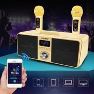 sd309 dual wireless microphone bluetooth speaker ktv mobile wireless karaoke speaker wireless stereo black 30w sdrd speaker set