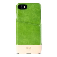 【alto】iPhone SE2/7/8 真皮手機殼背蓋 Metro - 萊姆綠/本色(alto  義大利真皮皮革)