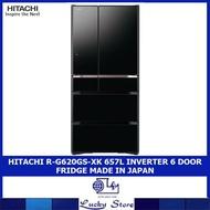 HITACHI R-G620GS-XK / XW 657L INVERTER 6 DOOR FRIDGE MADE IN JAPAN (CRYSTAL BLACK / WHITE)