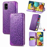 Blooming Embossed Leather Case For Samsung A51 Flip Cover Case