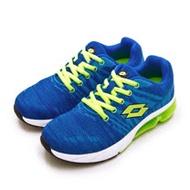 【女】LOTTO 專業飛織避震氣墊慢跑鞋 SUPER LITE系列 藍螢綠 1615