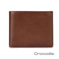 【Crocodile】鱷魚皮件 真皮短夾 Natural系列 8卡 活動窗格 男夾 0103-5804-黑咖兩色(Natural系列)