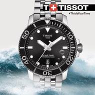 【聖誕節禮物】TISSOT 天梭 T1204071105100 4Seastar 1000 海洋之星300米潛水機械錶 黑 3mm